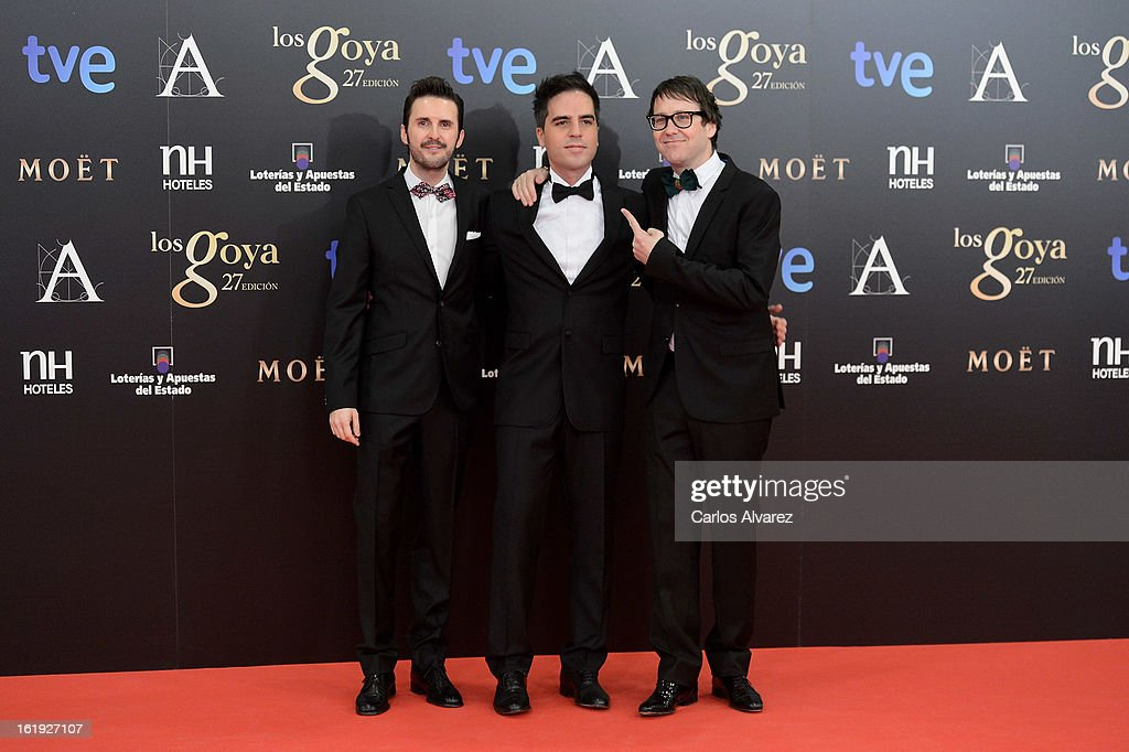 Members of 'Muchachada Nui' attend Goya Cinema Awards 2013 at Centro de Congresos Principe Felipe on February 17, 2013 in Madrid, Spain.