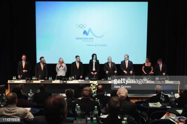 Members of Munich 2018 delegation Ian Robertson HansPeter Friedrich Magdalena Neuner Bernhard Schwank Claudia Bokel Walther Troeger Christian Ude...
