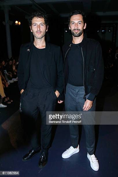 Members of Musical Group AaRON Simon Buret and Olivier Coursier attend the Alexis Mabille show as part of the Paris Fashion Week Womenswear...