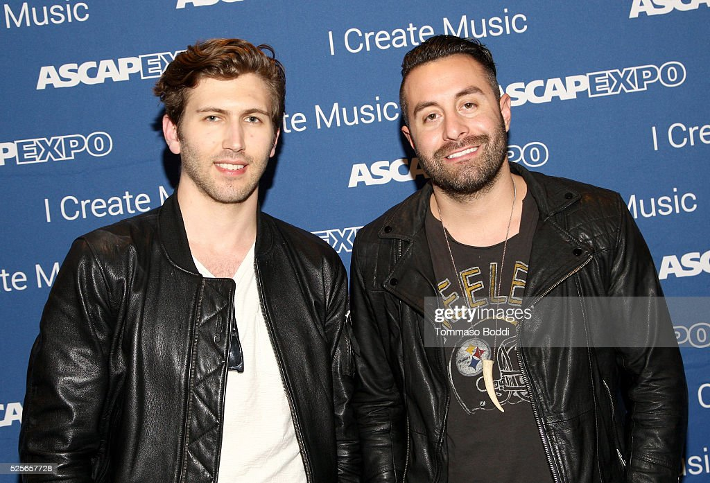 Members of musical group The Score, Edan Dover (L) and Eddie Anthony attend the 2016 ASCAP 'I Create Music' EXPO on April 28, 2016 in Los Angeles, California.