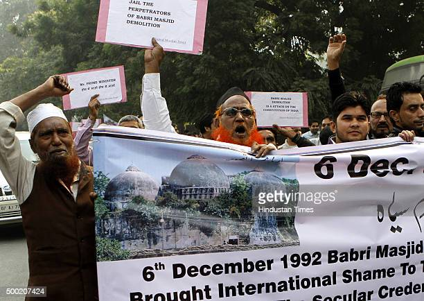 Members of Muslim Organization United Muslim Front protest on the anniversary of Babri Masjid demolition at Jantar Mantar on December 6 2015 in New...