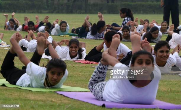 Members of National Cadet Corps performing Yoga at Noida Degree College on International Yoga Day on June 21 2017 in Noida India
