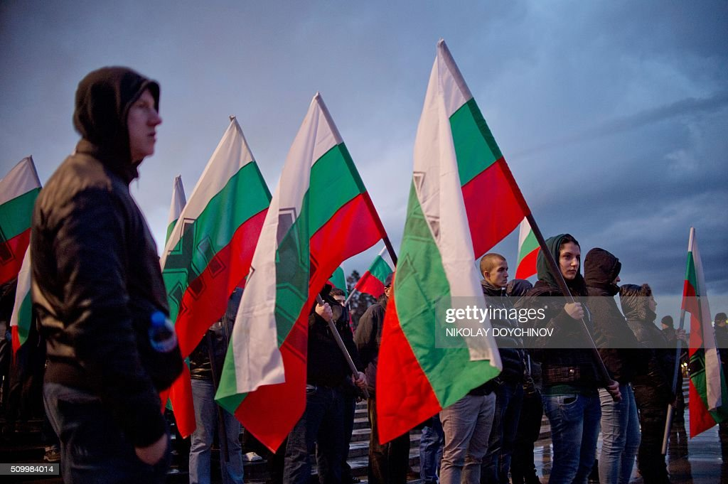 Members of nationalist organisations take part in a march in the centre of Sofia on February 13, 2016. HAFP PHOTO / NIKOLAY DOYCHINOV Hundreds of Nationalists gathered to commemorate General Hristo Lukov, a Bulgarian army commander during the World War I, who was killed on February 13, 1943. / AFP / NIKOLAY DOYCHINOV