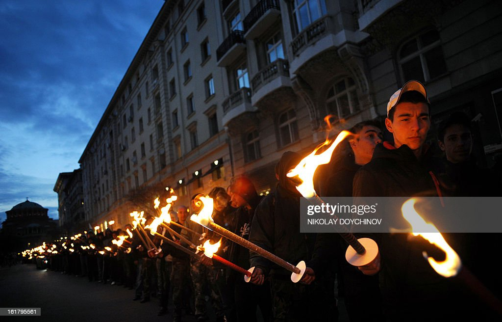 Members of nationalist organizations march with torches in central Sofia on February 16, 2013. More than one thousand members of various nationalist organizations marched to commemorate General Hristo Lukov, a Bulgarian army commander from the World War I, who was killed on February 13, 1943.