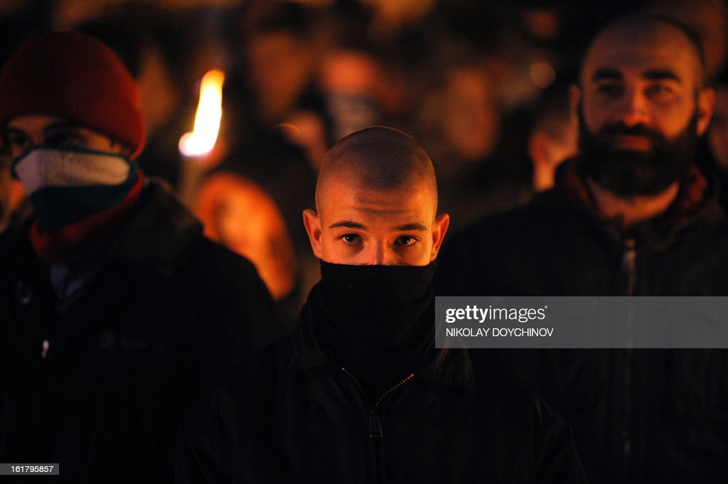 Members of nationalist organizations march with torches in central Sofia on February 16, 2013. More than one thousand members of various nationalist organizations marched to commemorate General Hristo Lukov, a Bulgarian army commander from World War I, who was killed on February 13, 1943.