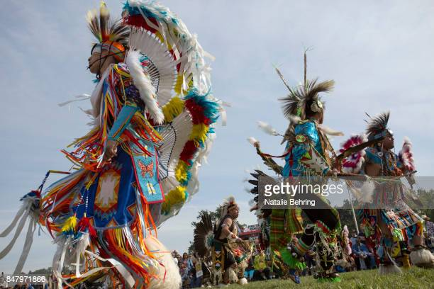 Members of Native American tribes take part in a tribal ceremonial dancing competition at the Pendleton RoundUp on September 16 2017 in Pendleton...