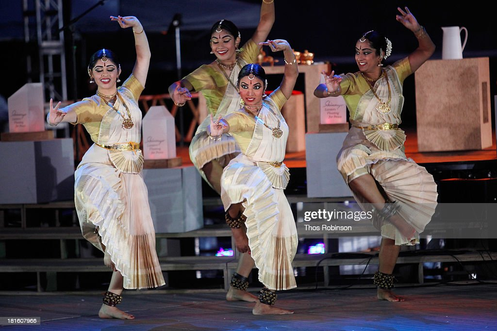 Members of Natya Dance Theater perform at the Shinnyo Lantern Floating For Peace event at Trump Rink at Central Park on September 22, 2013 in New York City.
