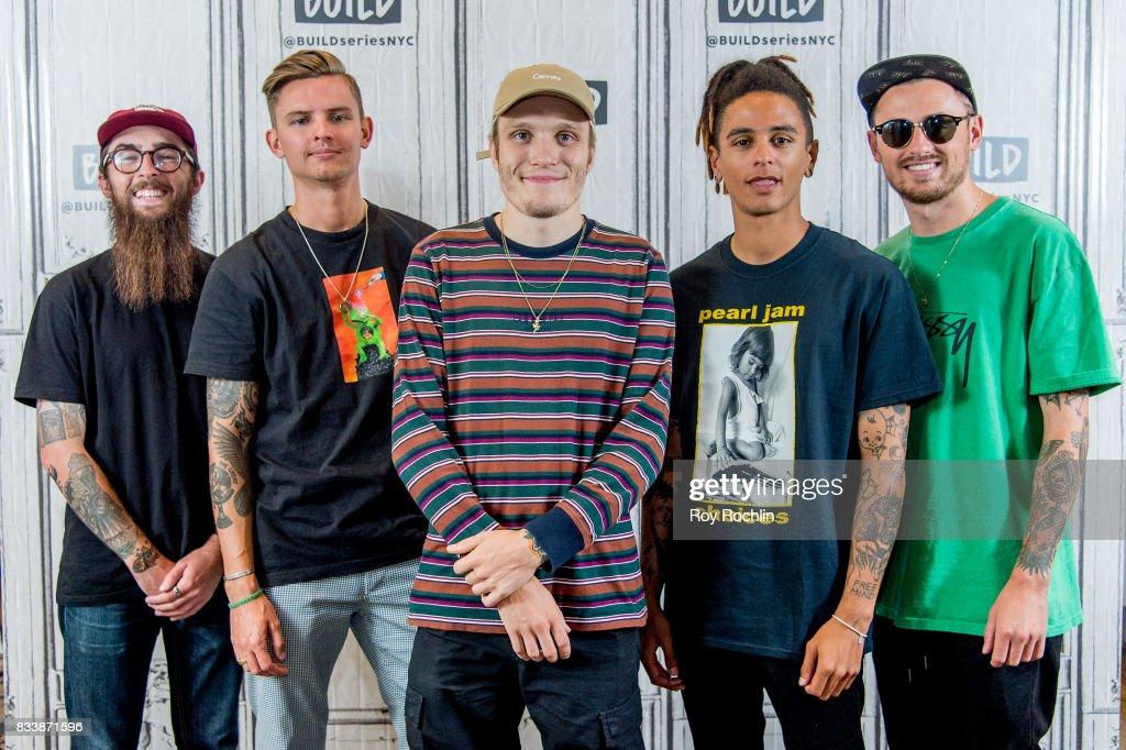 Members of Neck Deep Matt West, Fil Thorpe-Evans, Ben Barlow, Dani Washington and Sam Bowden at Build Studio on August 17, 2017 in New York City.