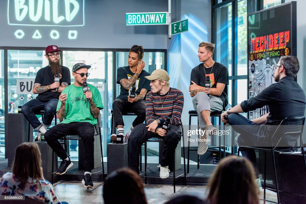 Members of Neck Deep Matt West, Fil Thorpe-Evans, Ben Barlow, Dani Washington and Sam Bowden discuss 'The Peace and The Panic' with the Build Seriesat Build Studio on August 17, 2017 in New York City.
