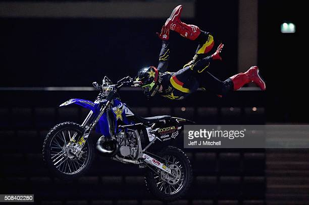 Members of Nitro Circus perform during rehearsals at the Hydro on February 4 2016 in Glasgow Scotland Nitro Circus Live includes breathtaking...
