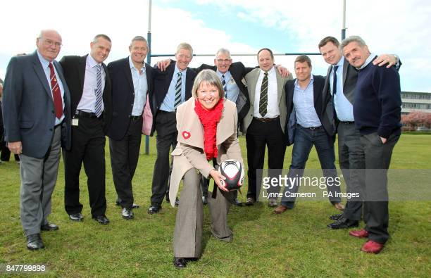 Members of North Ayrshire Clubs with Craig Chalmers Gavin Hastings Chief Executive of North Ayrshire Council Elma Murray Gerald Davies and John...