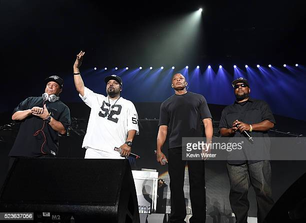 Members of NWA DJ Yella Ice Cube Dr Dre and MC Ren perform onstage during day 2 of the 2016 Coachella Valley Music Arts Festival Weekend 2 at the...