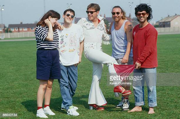 Members of of English rock group New Order with comedian Keith Allen after they recorded the official song of the England football team's 1990 World...