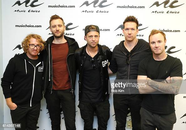 Members of OneRepublic Drew Brown Brent Kutzle Ryan Tedder Zach Filkins and Eddie Fisher visit at Music Choice on October 13 2016 in New York City