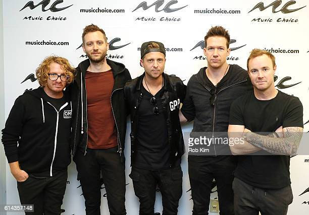 Members of OneRepublic Drew Brown Brent Kutzle Ryan Tedder Zach Filkins and Eddie Fisher visit at Music Choice on October 13 2016 in New York City