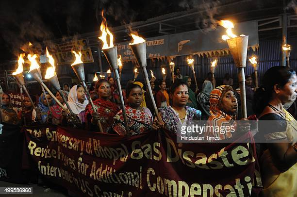 Members of organisations of survivors organised a torch rally from Sindhi colony to Union carbide factory to press for acceptance of their demands on...