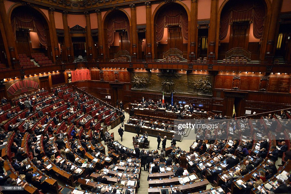 Members of parliamen attend a key budget vote on December 21, 2012 at the parliament in Rome. The Italian parliament prepared Friday for a key budget vote which will trigger the resignation of Prime Minister Mario Monti, who is expected to reveal this weekend whether he will run in the upcoming election.