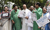 Members of Parliament protest against Modi Government against price hike and retail FDI during the Parliament Monsoon Session on July 18 2016 in New...
