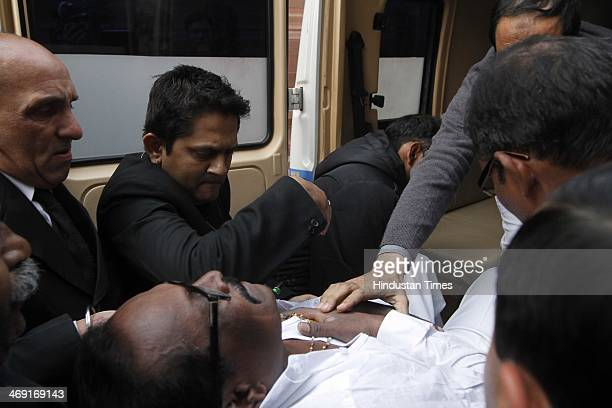 Members of Parliament who were affected by pepper spray taken to the hospital in an ambulance at the Parliament building parliament session erupted...