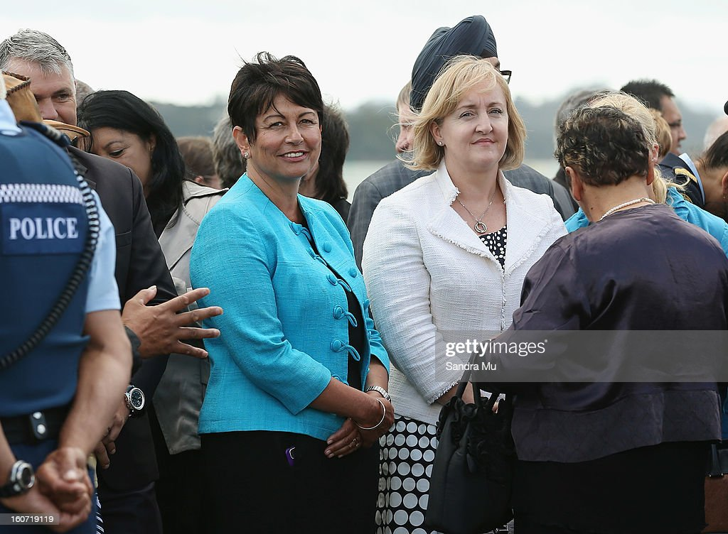 Members of Parliment Hekia Parata (L) and Amy Adams arrive at Te Tii Marae on February 5, 2013 in Waitangi, New Zealand. The Waitangi Day national holiday celebrates the signing of the treaty of Waitangi on February 6, 1840 by Maori chiefs and the British Crown, that granted the Maori people the rights of British Citizens and ownership of their lands and other properties.