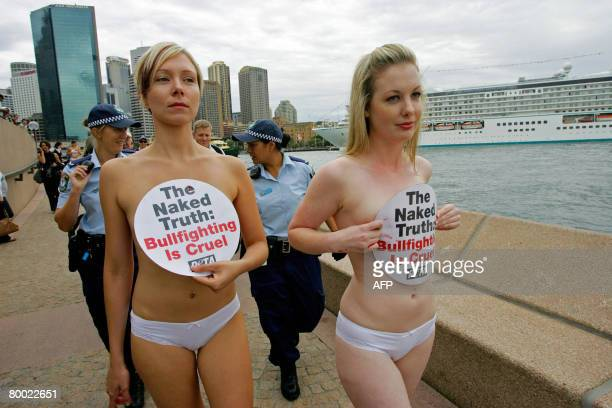 Members of People for the Ethical Treatment of Animals asiaPacific campain near Sydney's Opera House to protest against bullfighting in Europe and...