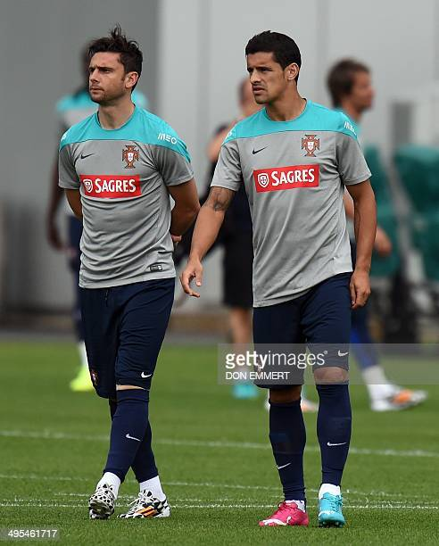 Member's of Portugal's national soccer team walk the field during training on June 3 2014 in Florham Park New Jersey The team will be training at the...