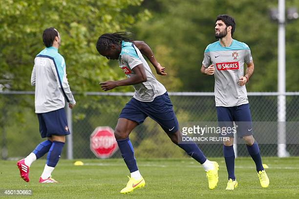 Members of Portugal's national soccer team warm up during World Cup preparations on June 5 2014 in Foxborough Massachusetts Two more friendlies are...
