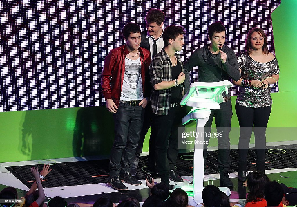 Members of Rock Bones with Bruno Martini, Mayra Arduini speak onstage at the Kids Choice Awards Mexico 2012 at Pepsi Center WTC on September 1, 2012 in Mexico City, Mexico.