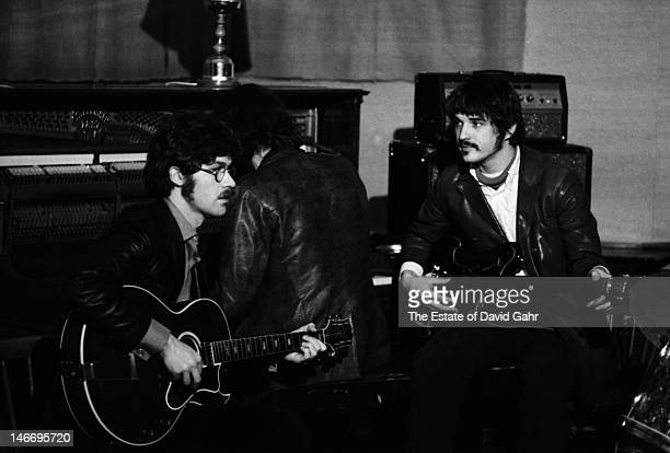 Members of rock group The Band rehearse in December 1969 in Woodstock New York