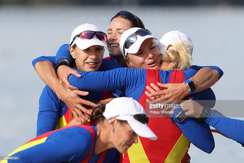 Members of Romanias Women's Eight team celebrate after qualifying for the 2016 Summer Olympic Games in Rio during Day 3 of the 2016 FISA European And Final Olympic Qualification Regatta at Rotsee on May 24, 2016 in Lucerne, Switzerland.