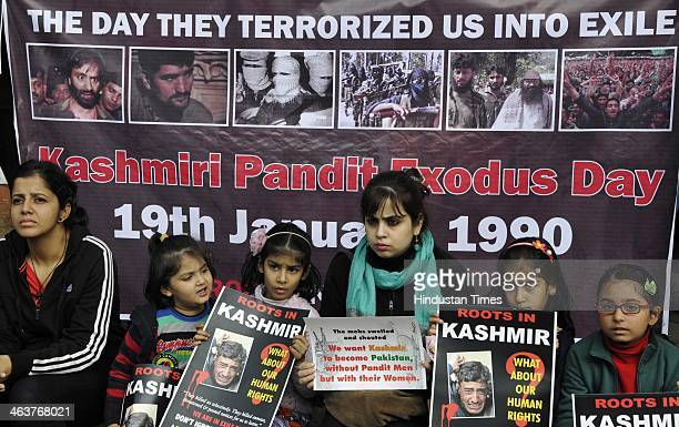 Members of Roots in Kashmir a Kashmiri Pandit group campaigning for the restoration of human rights and dignity of over 50000 Kashmiri Hindus who had...