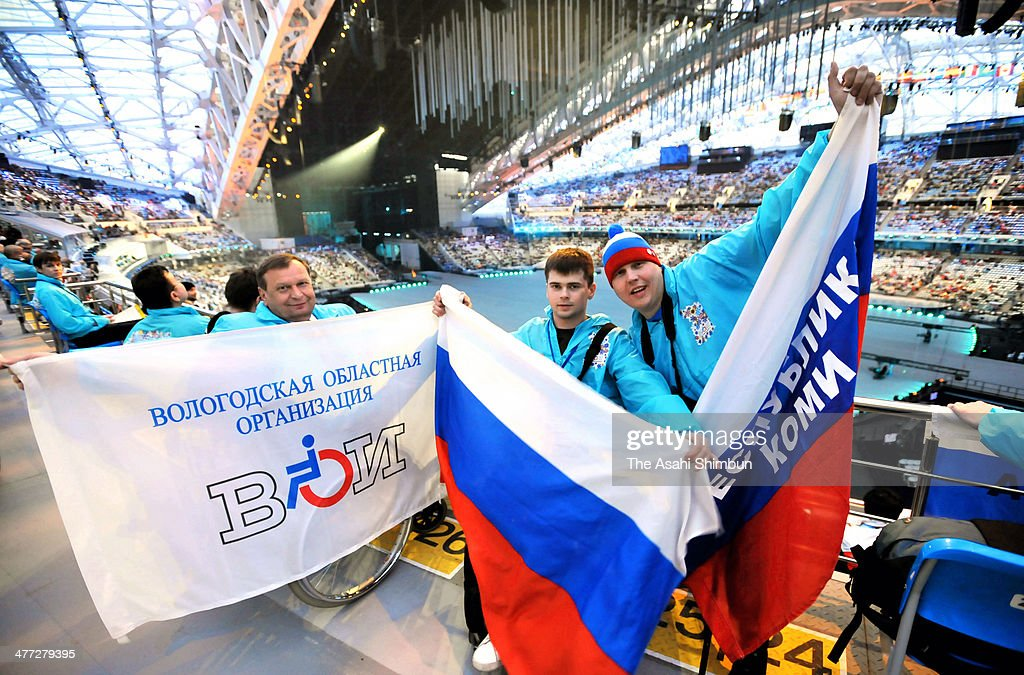 Members of Russian Paralympic team wait for the Opening Ceremony of the Sochi 2014 Paralympic Winter Games at Fisht Stadium on March 7, 2014 in Sochi, Russia.