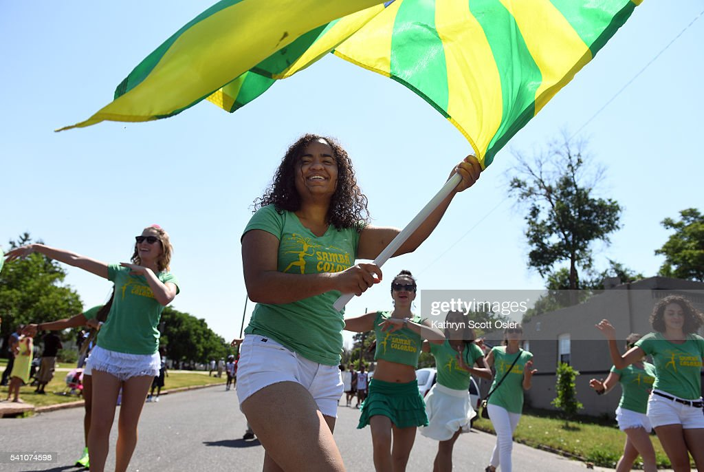 Members of Samba Colorado make their way down E 26th Ave The 2016 Juneteenth Parade begins near Manuel High School in Denver and ends in the Five...