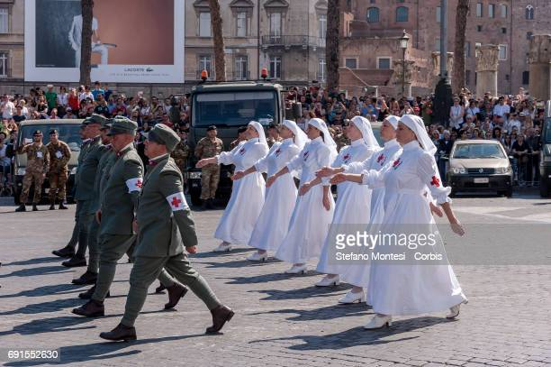 Members of Sassari brigade with the vintage uniform attend the military parade during the celebrations of the Italian Republic Day on June 2 2017 in...
