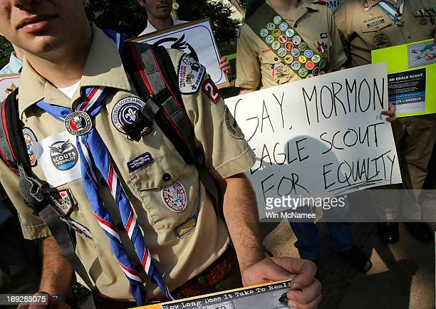 Members of Scouts for Equality hold a rally to call for equality and inclusion for gays in the Boy Scouts of America as part of the 'Scouts for...
