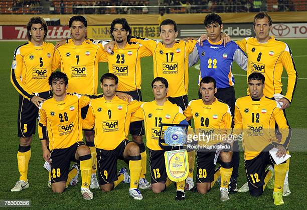 Members of Sepahan team pose at the FIFA Club World Cup Japan 2007 match between Sepahan and Waitakere United at the Tokyo National Stadium on...
