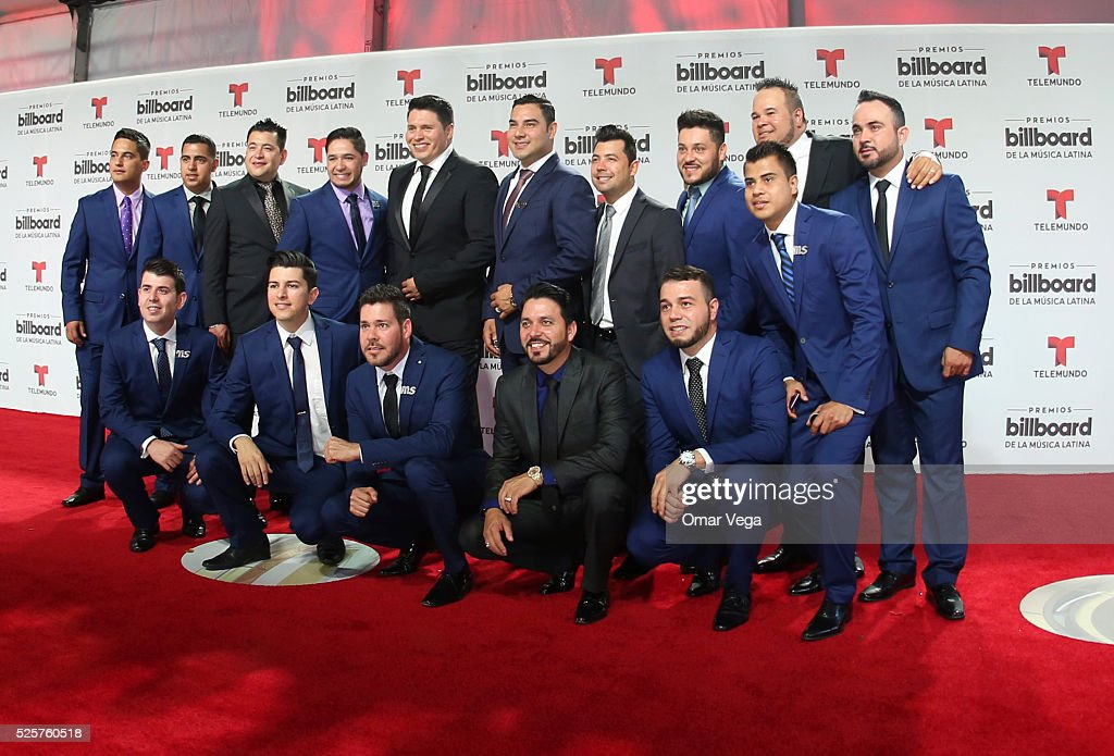 Members of Sinaloense MS de Sergio Lizarraga band pose during the red carpet of Billboard Latin Music Awards 2016 at Bank United Center on April 28, 2016 in Miami, United States.