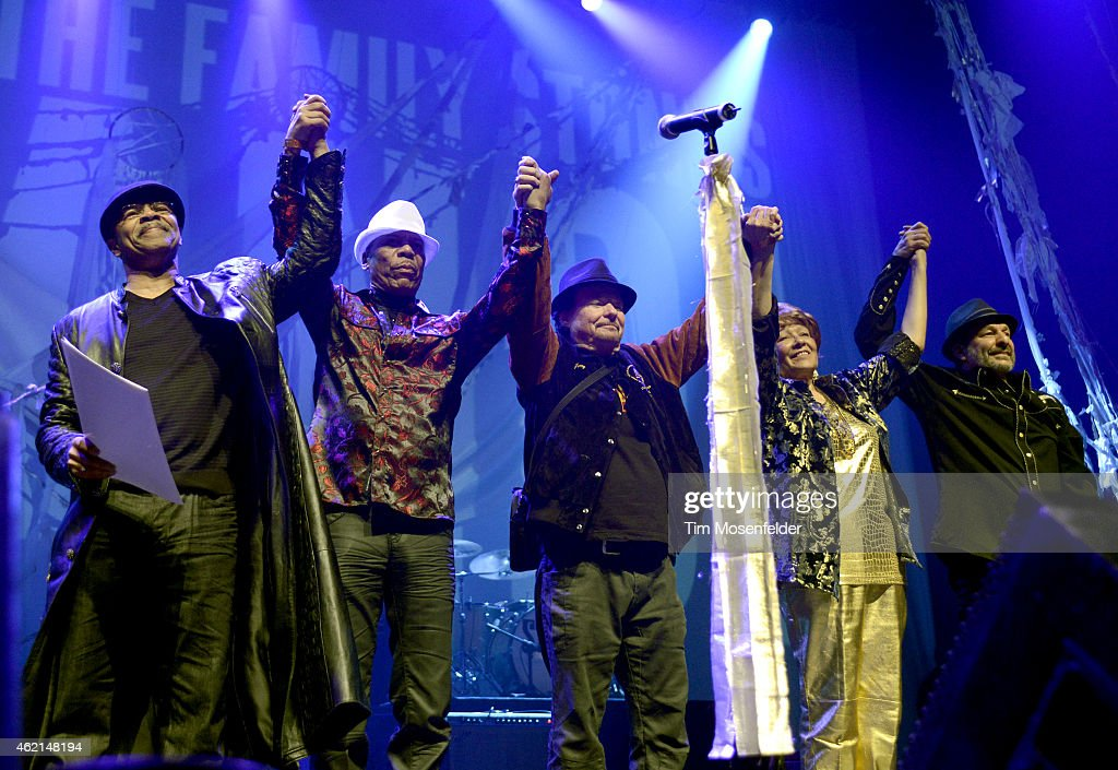 Members of Sly and the Family Stone (L - R) Freddie Stone, Rustee Allen, Jerry Martini, Cynthia Robinson, and Greg Errico attend 'Love City' A Convention and 'Stand!' concert Celebrating Sly & The Family Stone on January 24, 2015 in Oakland, California.