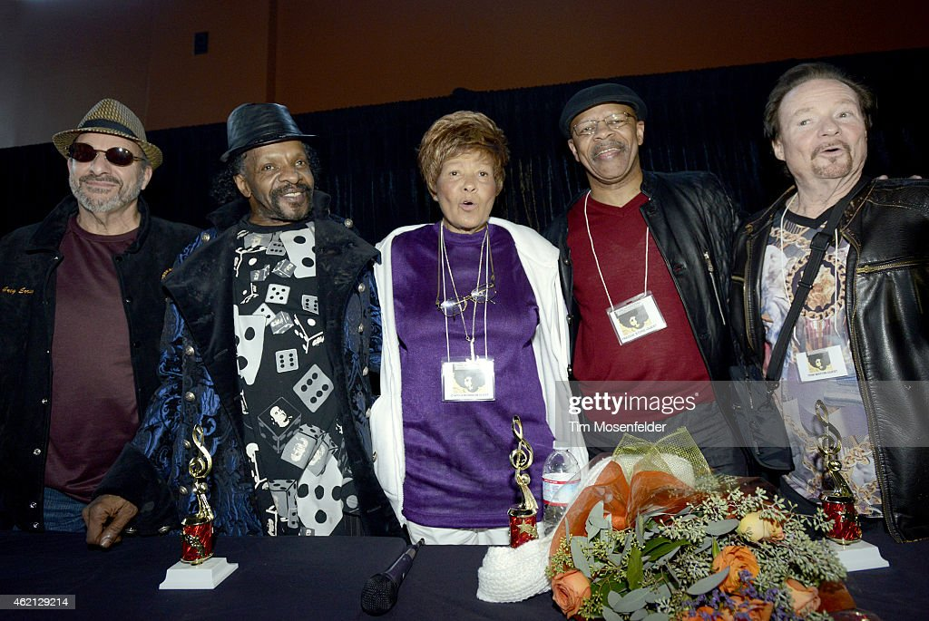 Members of Sly and the Family Stone (L - R) Greg Errico, Sly Stone, Cynthia Robinson, Freddie Stone, and Jerry Martini attend 'Love City' A Convention Celebrating Sly & The Family Stone on January 24, 2015 in Oakland, California.