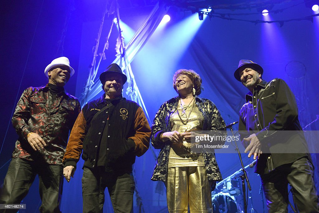 Members of Sly and the Family Stone (L - R) Rustee Allen, Jerry Martini, Cynthia Robinson, and Greg Errico attend 'Love City' A Convention and 'Stand!' concert Celebrating Sly & The Family Stone on January 24, 2015 in Oakland, California.