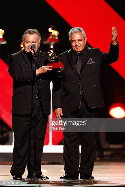 Members of Sonora Santanera accept Best Traditional Tropical Album for 'La Sonora Santanera En Su 60 Aniversario' onstage during The 17th Annual...