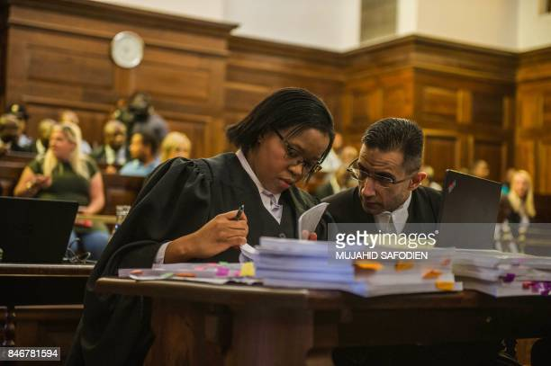 Members of South African president's legal team attend the spy tape case at the Supreme Court of Appeal in Bloemfontein on September 14 2017 South...