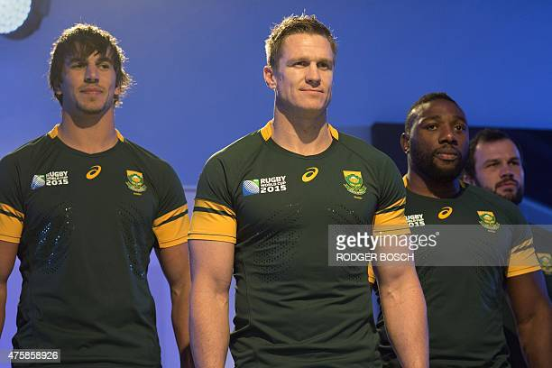 Members of South Africa's national rugby union team the Springboks number 4 lock Eben Etzebeth captain and inside centre Jean de Villiers and prop...