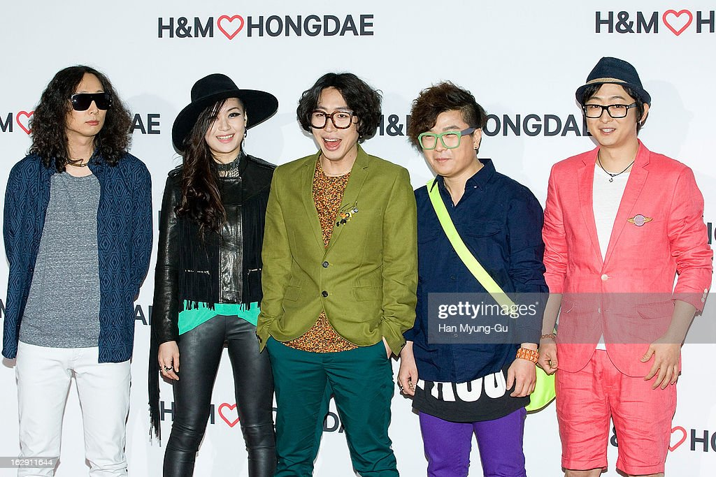 Members of South Korean band Romantic Punch attend the H&M (Hennes & Mauritz AB) Hongik University Store Opening on February 28, 2013 in Seoul, South Korea.