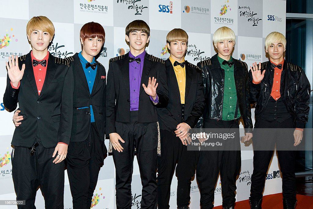 Members of South Korean boy band 24K attend during the 2012 Korea Popular Culture Art Awards at Olympic Hall on November 19, 2012 in Seoul, South Korea.