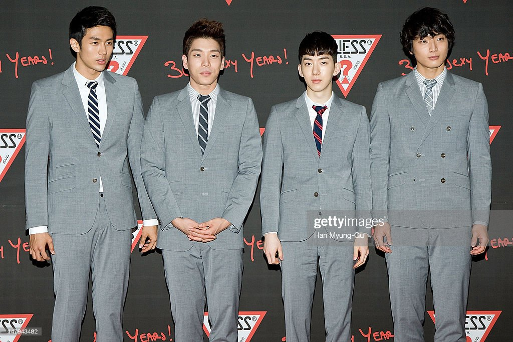 Members of South Korean boy band 2AM poses for media at the Guess 30th anniversary concert named 'Guess Party' on July 6, 2012 in Seoul, South Korea.