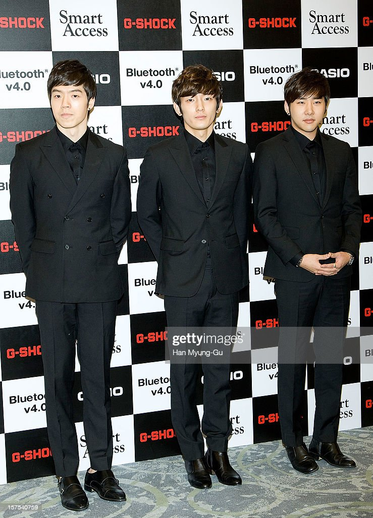 Members of South Korean boy band 7942 attend during the promotional event of 'Evolution of CASIO 2013' at Novotel Ambassador Gangnam on December 4, 2012 in Seoul, South Korea.