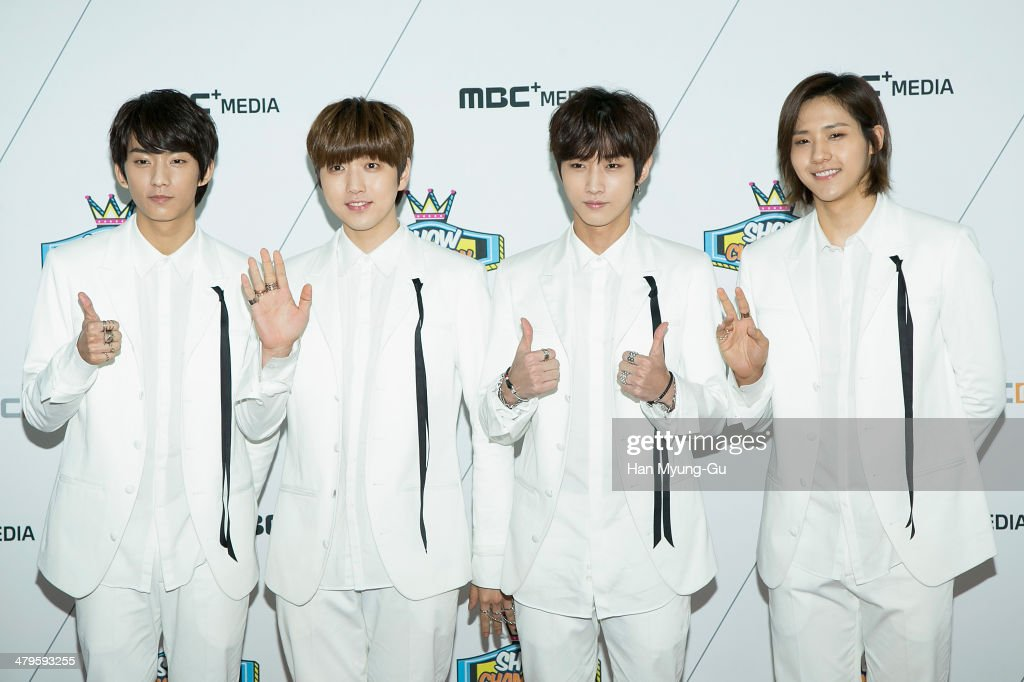Members of South Korean boy band B1A4 attend MBC Music 'Show Champion' on March 19, 2014 in Ilsan, South Korea.