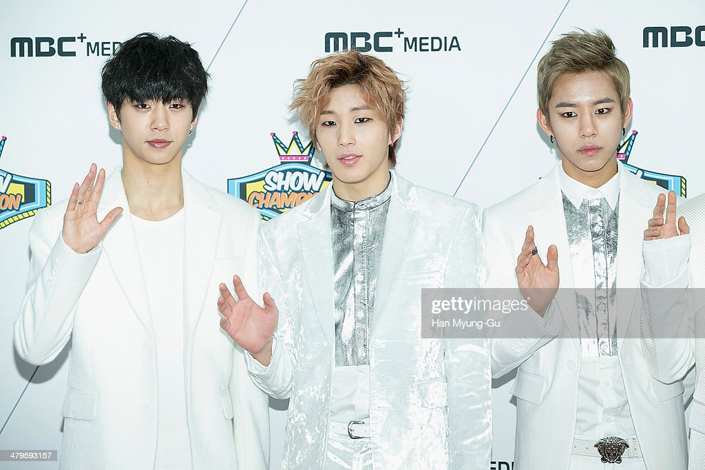 Members of South Korean boy band B.A.P attends MBC Music 'Show Champion' on March 19, 2014 in Ilsan, South Korea.