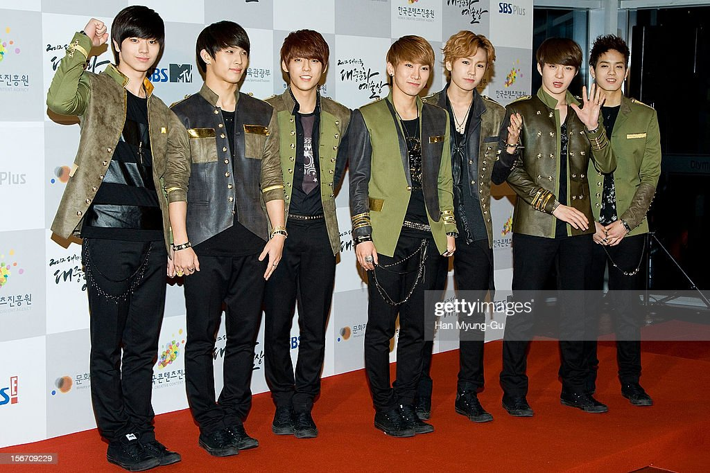 Members of South Korean boy band BtoB attend during the 2012 Korea Popular Culture Art Awards at Olympic Hall on November 19, 2012 in Seoul, South Korea.